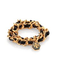 Tory Burch | Black Chain and Leather Bracelet | Lyst