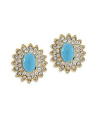 Kenneth Jay Lane - Blue Turquoise Cabochon Clip Earring - Lyst