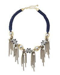 Lydell NYC | Blue Rhinestone & Pearly Bead Tassel Bib Necklace | Lyst