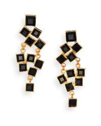 Kenneth Jay Lane - Square-cut Cluster Chandelier Earrings/black - Lyst