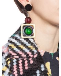 Marni - Green Clip-on Earrings With Spheres In Coloured Horn - Lyst