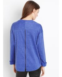 Vince - Purple Rolled Sleeve Knit Top With Contrast Detail - Lyst