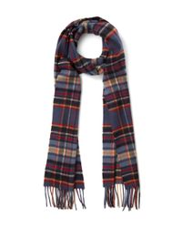Johnstons - Blue Navy Woven Check Cashmere Scarf for Men - Lyst