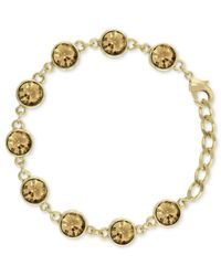 2028 - Metallic Gold-tone Topaz Glass Crystal Bracelet - Lyst