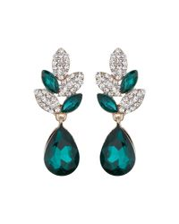 Mikey - Green Leaf Design + Drop Crystal Earring - Lyst