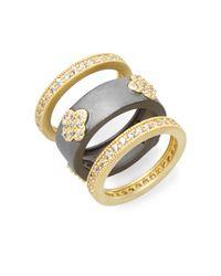 Freida Rothman | Metallic Pavé Clover & Two-tone Ring Set | Lyst