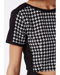 Missguided - Black Contrast Panel Dogtooth Crop Top - Lyst