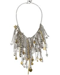 Vera Wang | Metallic Multi Chain And Charms Necklace | Lyst