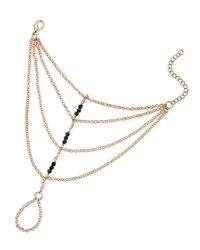 Panacea | Black Beaded Hand Chain | Lyst