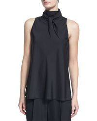 The Row - Black Silk Organza Bandana-neck Top - Lyst