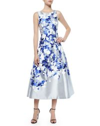 Kay Unger | Blue Floral-Print Satin Dress | Lyst