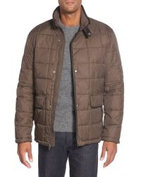 Cole Haan - Brown Leather Trim Quilted Jacket for Men - Lyst