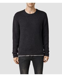 AllSaints | Gray Flagg Crew Jumper for Men | Lyst