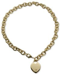 Guess | Metallic Gold-tone Heart Pendant Necklace | Lyst