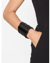 Monies | Black Leather Band Cuff | Lyst