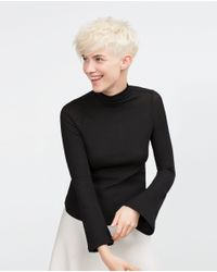 Zara | Black Bell Sleeve Top | Lyst