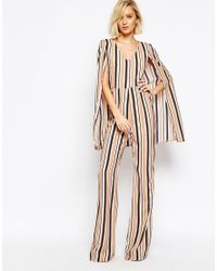 Lavish Alice | Multicolor Stripe Cape Detail Jumpsuit | Lyst
