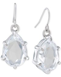 Carolee - Metallic Silver-tone Crystal Teardrop Earrings - Lyst
