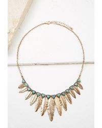 Forever 21 | Metallic Feather Pendant Statement Necklace | Lyst