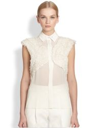 Jason Wu | Natural Silk Chiffon Ruffle Panel Top | Lyst