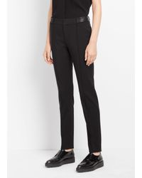 Vince - Black Pintuck Leather Tab Full Length Trouser - Lyst