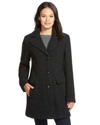 Gallery | Black Wool Blend Basket Weave Notch Collar Coat | Lyst