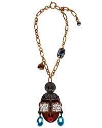 Lanvin | Multicolor Top Knot Face Necklace | Lyst