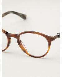 Moncler - Brown Round Frame Glasses - Lyst