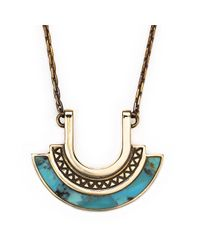 Pamela Love | Blue Halo Necklace In Brass | Lyst