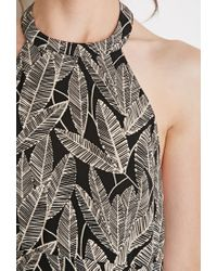 Forever 21 - Black Leaf Print Halter Dress - Lyst