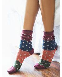 Free People | Brown Womens Spotlight Crew Sock | Lyst