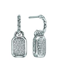 John Hardy | Metallic Silver Drop Earrings With Diamonds | Lyst