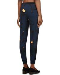 3.1 Phillip Lim - Blue Navy Cracked Pattern Lounge Pants - Lyst