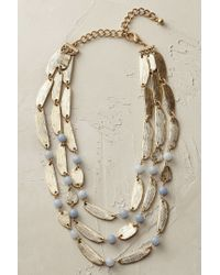 Anthropologie | Blue Gilded Leaf Necklace | Lyst