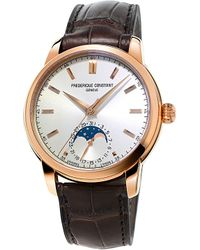 Frederique Constant | White Fc715v4h4 Moonphase Rose Gold-plated And Leather Watch for Men | Lyst