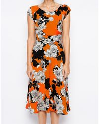 Love | Multicolor Midi Skater Dress In Mono Floral Print | Lyst
