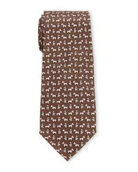 Pierre Cardin | Brown Puppy Print Silk Tie for Men | Lyst