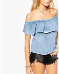 ASOS - Blue Festival Top With Off Shoulder And Gypsy Frill In Washed Cotton - Lyst