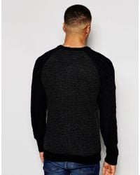 Native Youth | Black Cable Contrast Sleeve Jumper for Men | Lyst
