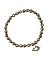 Chan Luu | Metallic Pyrite, Silver And Diamond Bracelet | Lyst