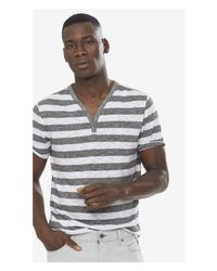 Express | White Striped Twisted Slub Y-neck Henley Tee for Men | Lyst