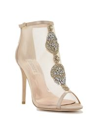 Badgley Mischka | Natural Rana Crystal-Encrusted Satin Boots | Lyst