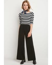 Forever 21 - Black Striped Rib Crop Top - Lyst