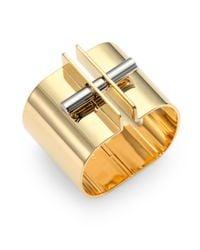 Chloé | Metallic Twotone Bar Lock Bracelet | Lyst