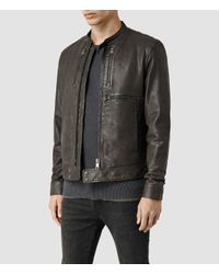 AllSaints | Brown Howard Leather Biker Jacket for Men | Lyst