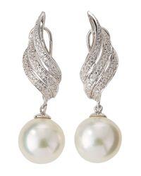 Belpearl - White Diamond Wing South Sea Pearl Drop Earrings - Lyst