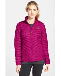 The North Face - Pink 'thermoball' Primaloft Front Zip Jacket - Lyst
