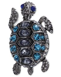 Jones New York | Metallic Silver-Tone Blue Crystal Turtle Pin | Lyst