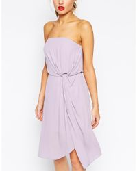 ASOS Twist Soft Bandeau Midi Dress - Purple