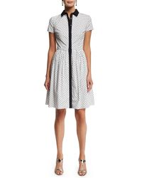 Oscar de la Renta - Black Short-sleeve Polka-dot Shirtdress - Lyst